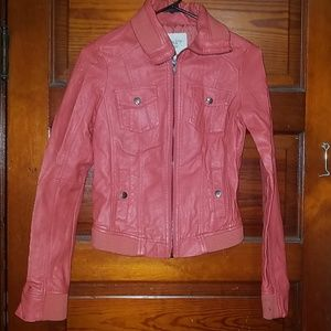 Non leather jacket in mauve/coral color